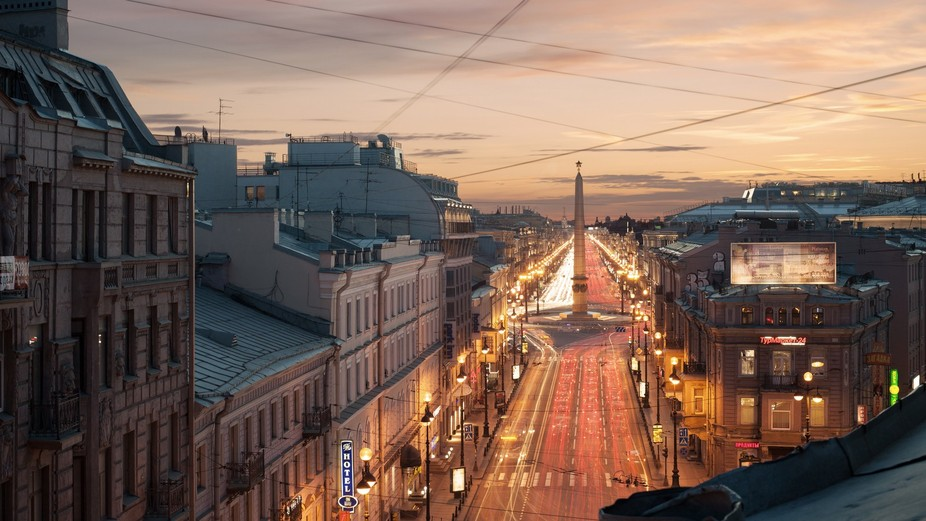 Petersburg evening rush hour. View of Nevsky Prospekt from the Admiralty to the area of the Rebel...