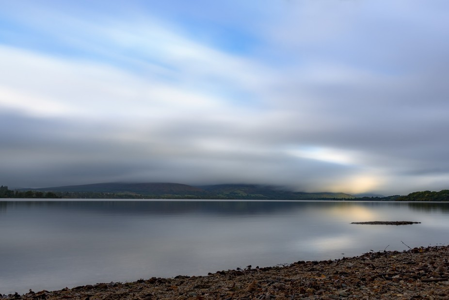 The sun rising over Loch Lomond