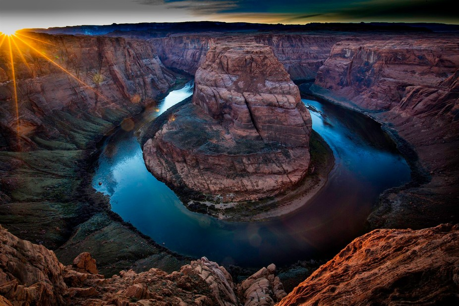 Image made at Horse Shoe Bend AZ a few miles south of Page AZ.