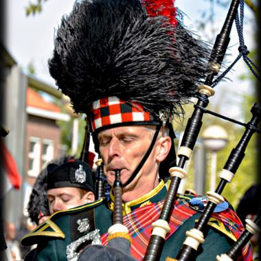 Bagpipe player in a Band.