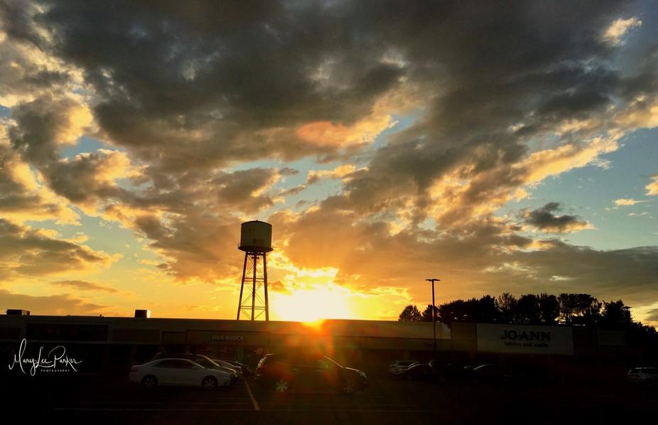Watertower at sunset