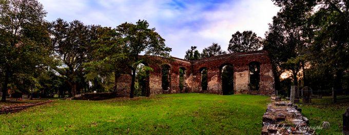 a 5 shoot panoramic of Biggin Church Ruins in Moncks Corner, South Carolina.