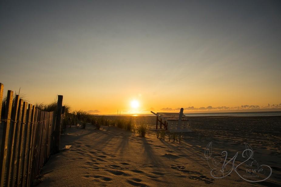 A New day has broken over the sandy beach