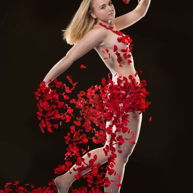 Rose petals were tossed at the model, which had to hold the same pose for several shots. The final result is a compilation of numerous shots.  20161212 dress of roses 4b