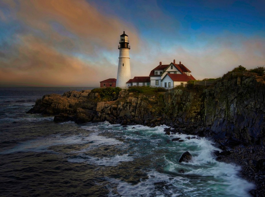 Portland Head Lighthouse with fog moving in.
