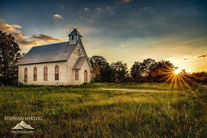 Oaky Grove Church Sunset by stephanherzog - Flares 101 Photo Contest