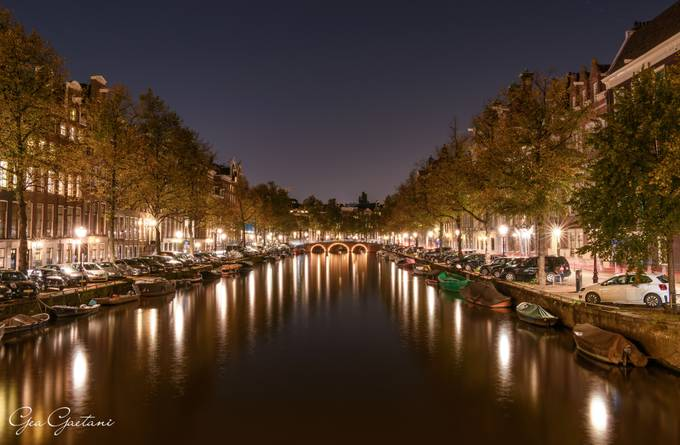 Amsterdam canal by night by geagaetanidaragona - Canals Photo Contest