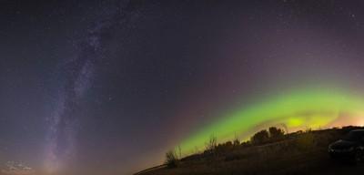 Milky Way Meets Aurora