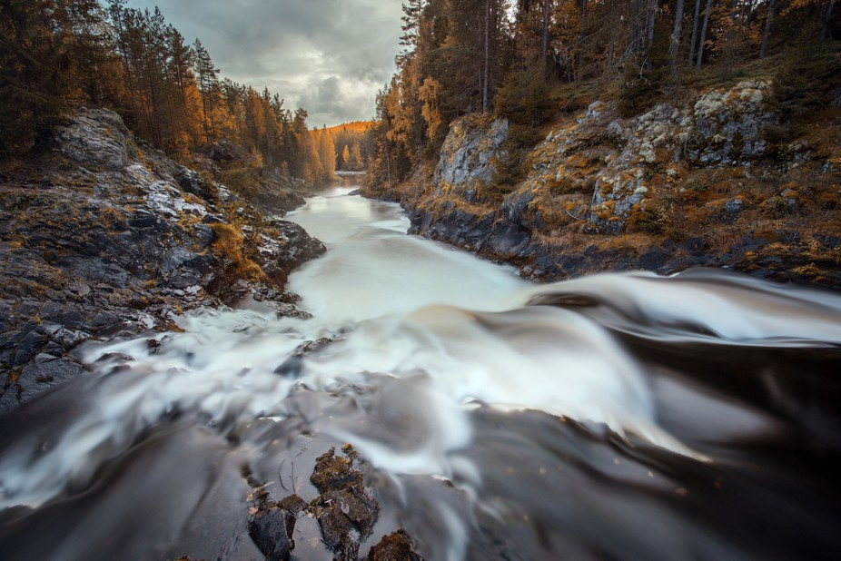Kivach waterfall in autumn forest    You can support me by sending a donation. Thanks :)