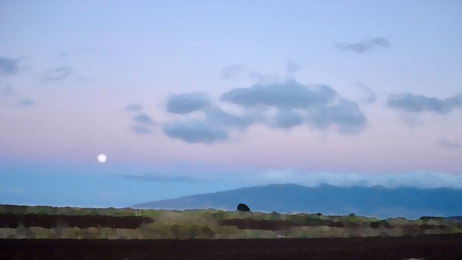 Moonset taken from Omaopio Road looking across the valley to Waikapu on Maui