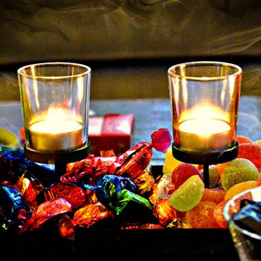 Sweets and candles at Xmas.