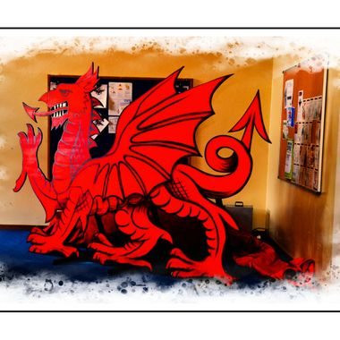 Bright red Welsh Dragon.