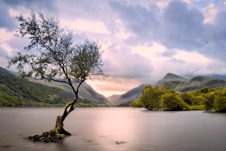 A photo taken at sunrise in Llanberis looking towards Mt. Snowdon