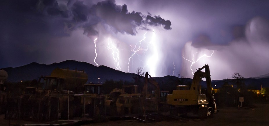 Construction machinery as a storm approaches