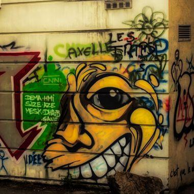 Graffiti wall on a campus in Chamonix