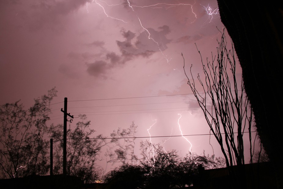 Plasma induced pink from severe lightning stikes