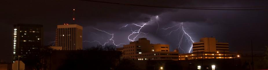 Lightning over downtown Tucson