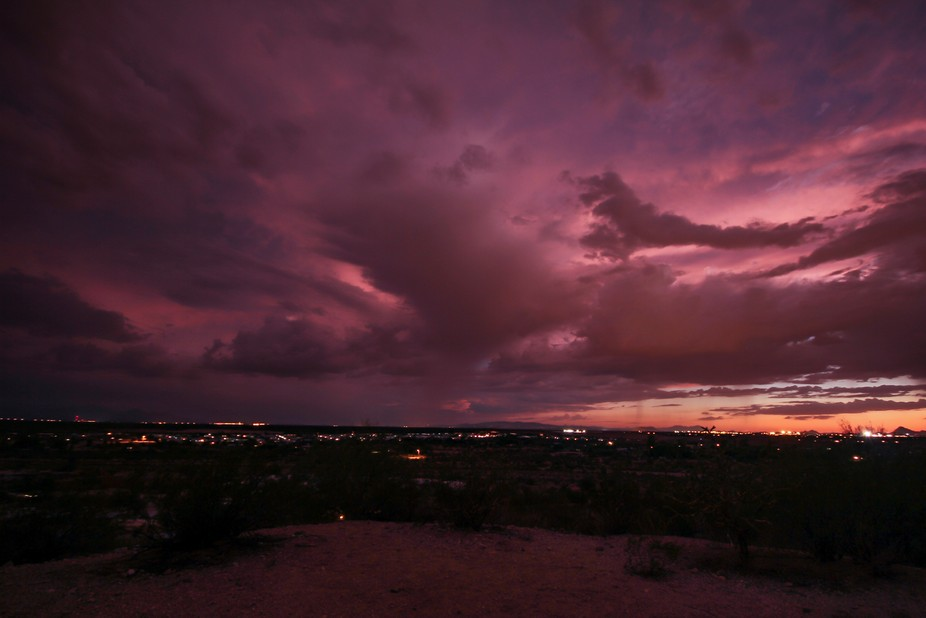 Beautiful post sunset skies after a stormy day in the desert.