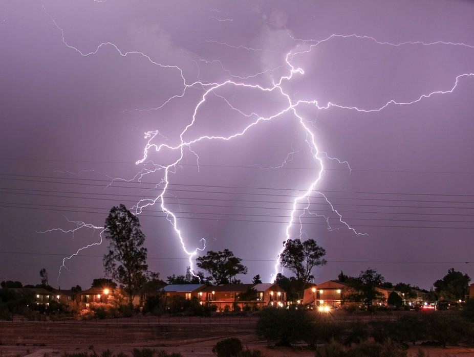Multiple powerful strikes in and near living areas of the desert