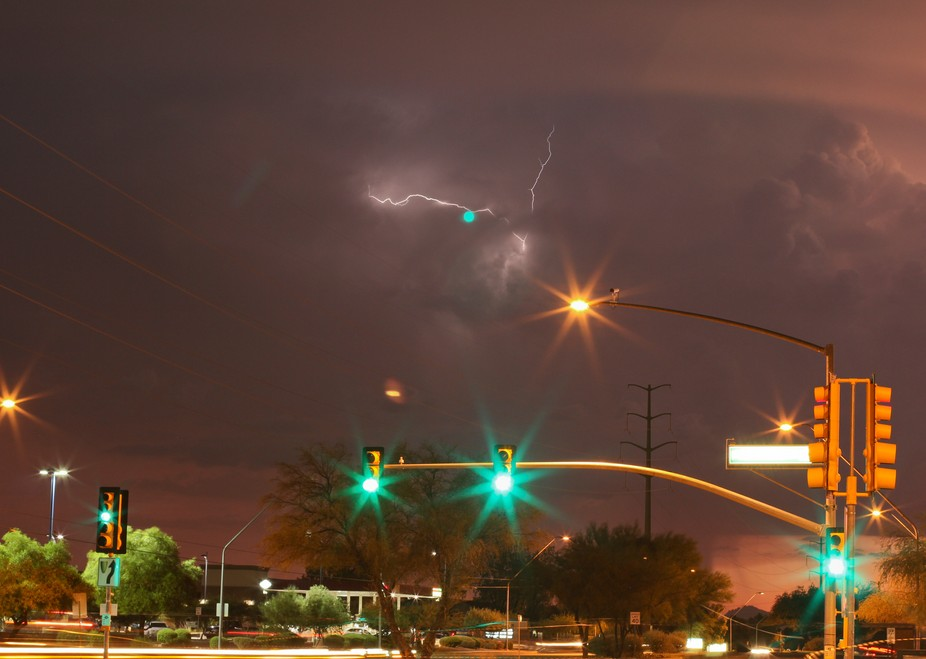 Yes, it's a green light with lightning in the distance