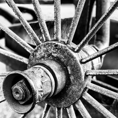 Steel wheel of old farming implement. Found on Irene Farm, Pretoria, South Africa