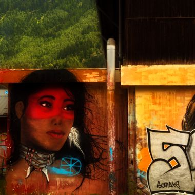 A graffiti art picture on a Campus wall in Chamonix