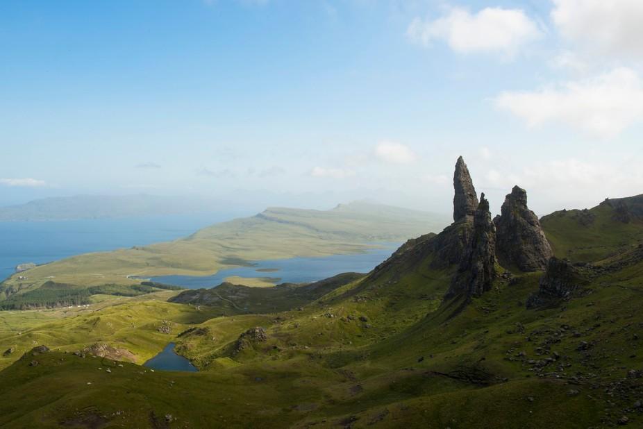 Long hike to a gorgeous vista on the Isle of Skye, Scotland