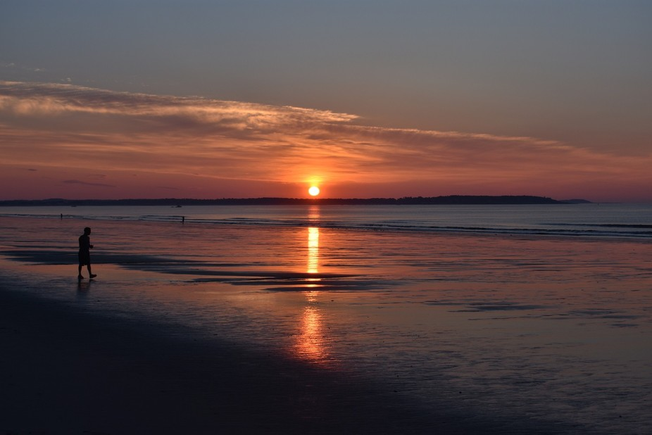 Sunrise in July 2017 at Old Orchard Beach, Maine