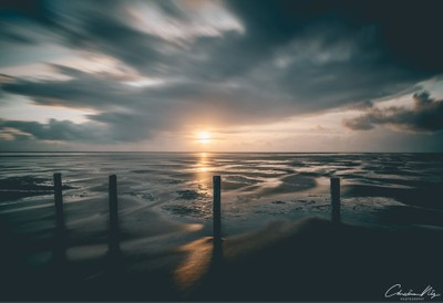 Sunset at the beach of St.Peter Ording