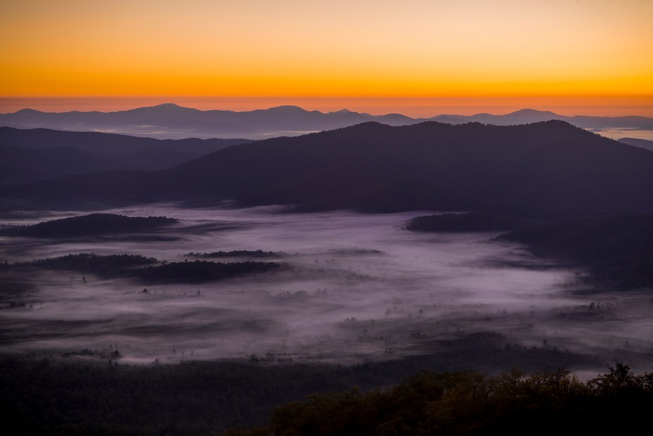 Early morning light along the Blue Ridge Parkway. Fog rolls through the valley below as the signa...
