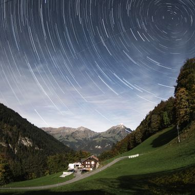 Nightly view from Kiental to Niesen in the Bernese Oberland, Switzerland