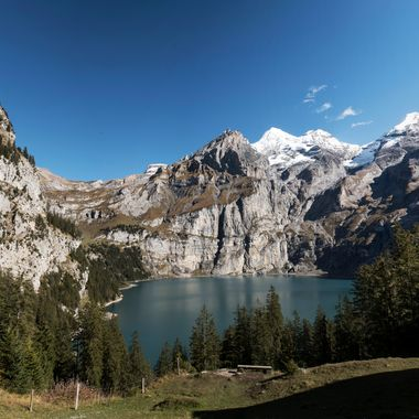 A beautiful view to Lake Oeschinen in the Bernese Oberland, Switzerland.