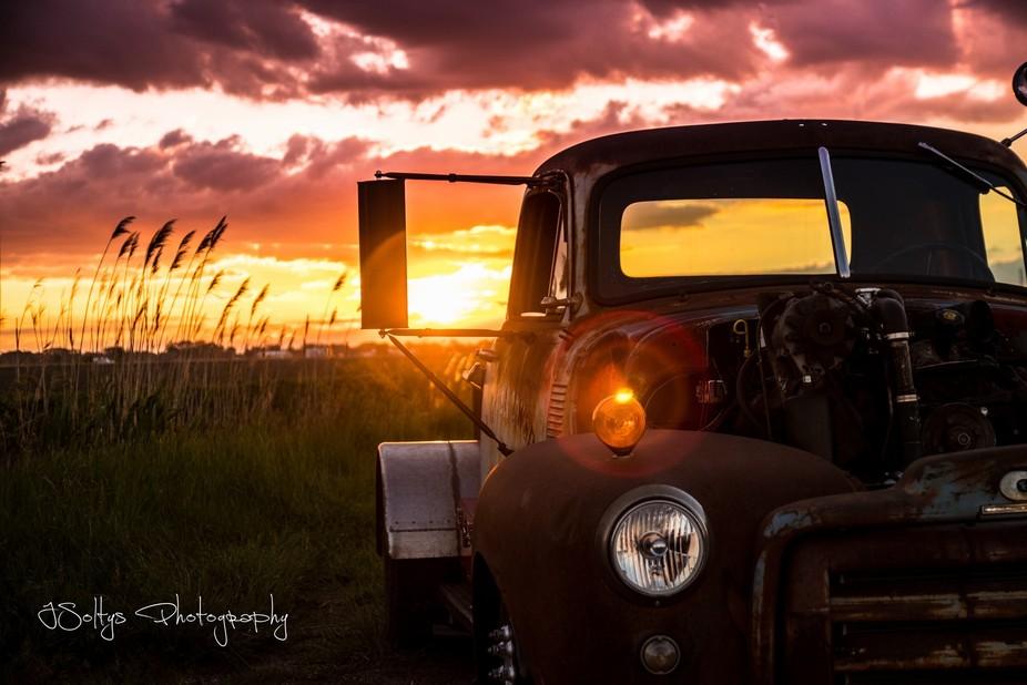 Sunset shoot of 1949 GMC Ratrod