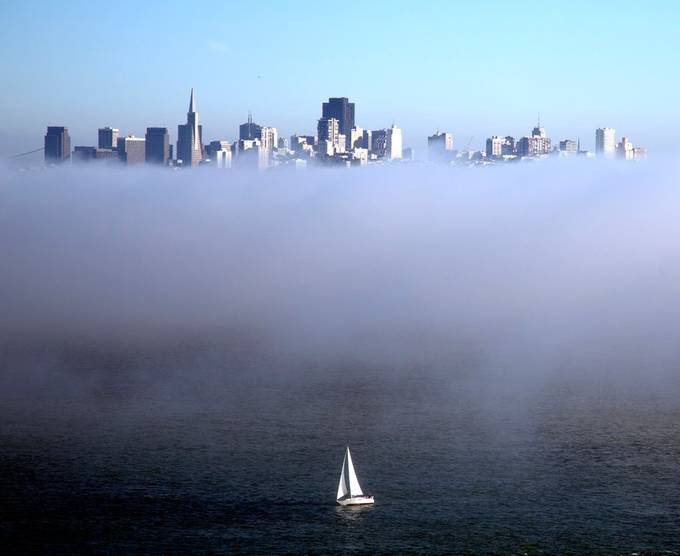 Boat Separated from SF Skyline by Bank of Fog    fIMGL9689 by mdriley00 - Fog And City Photo Contest