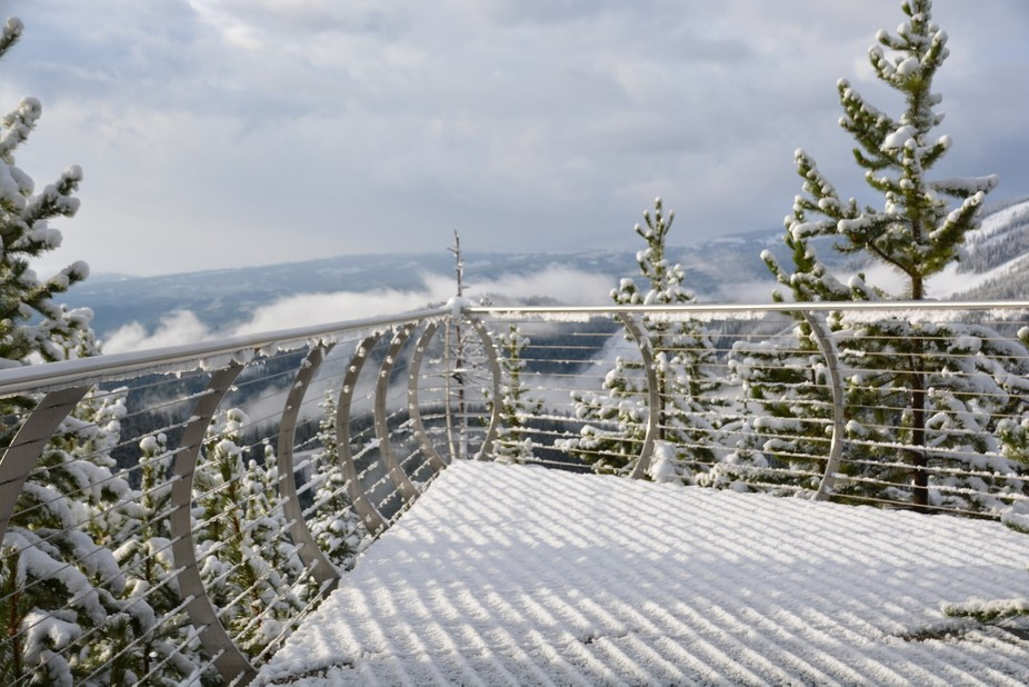Snowy morning in Big Sky Montana across the deck