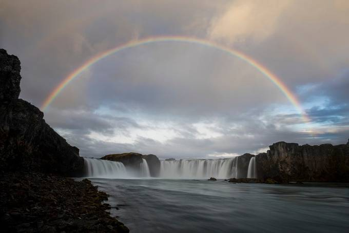 Rainbow at Goðafoss by Jonrunar - Rainbows Overhead Photo Contest