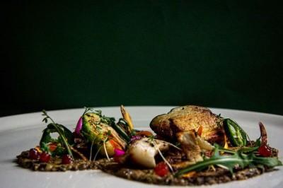 Leccinium mushrooms duxelles with jalapeño, brussels sprouts & cowberry confiture.