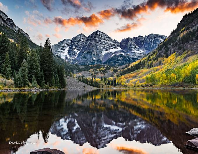 Sunset at the Maroon Bells, Aspen, Colorado by DavidSHoffman - Covers Photo Contest Vol 43