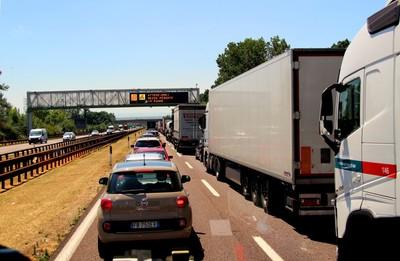 Cargo Trucks in Traffic Gridlock in Italy
