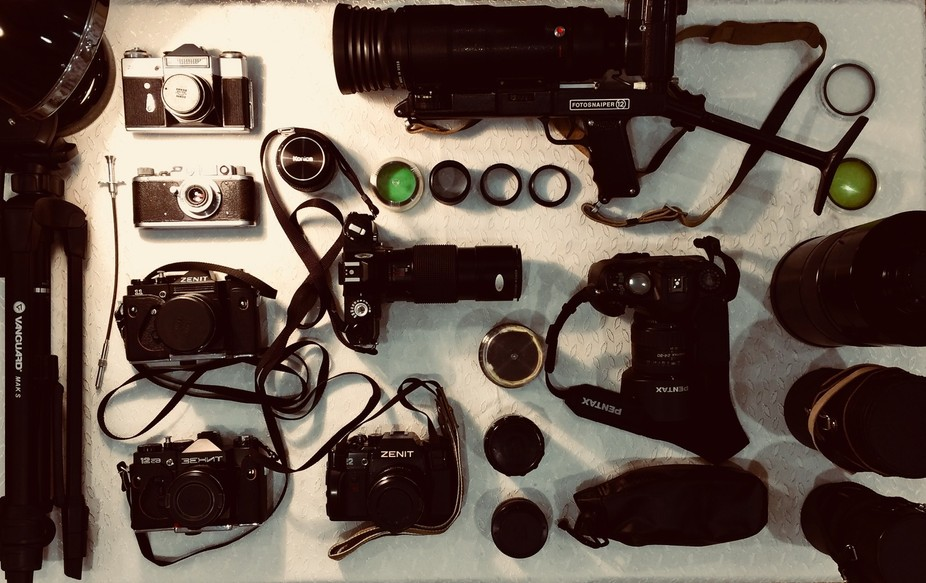 This is the my collection of analog cameras i love it. There is lenses and cameras from ussr and ...