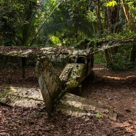 This airplane crashed during a storm in the 80s in the Jungle that is now the Cockscomb Wildlife Sanctuary in Belize. It belonged to Alan Rabinow...