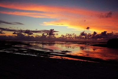Sunset over the Indo-Pacific ocean