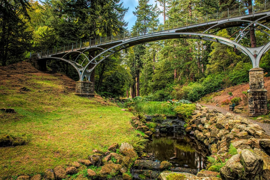 Slender  walk bridge  at Cragside