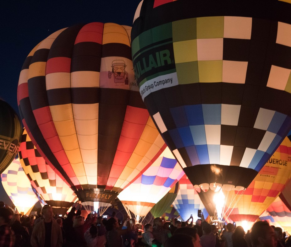 Balloon evening glow at Albuquerque Balloon Fiesta. It was cold on the final evening but a fantastic time to be surrounded by balloons.I Lens: Nikon 70-300 fx