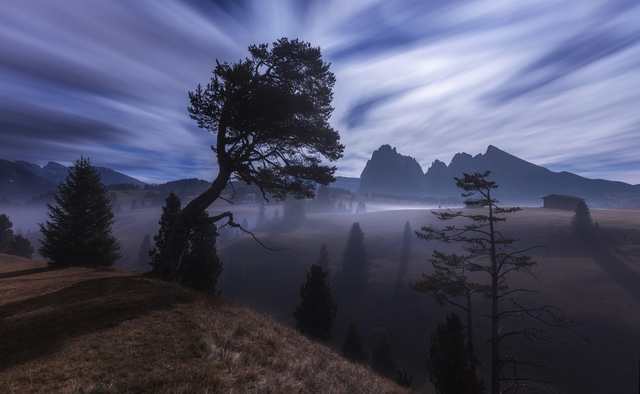 Harvest Moon In the Dolomites.
