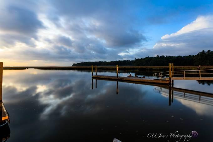 Sunrise on the salt water side of Bushy Park Boat Landing