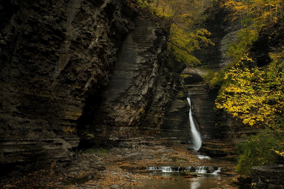 """""""Central Cascade"""" - Autumn at Watkins Glen State Park. Today was grey and wet, ..."""
