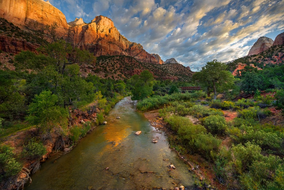 Early morning image just after sunrise of Virgin River in Zion. HDR