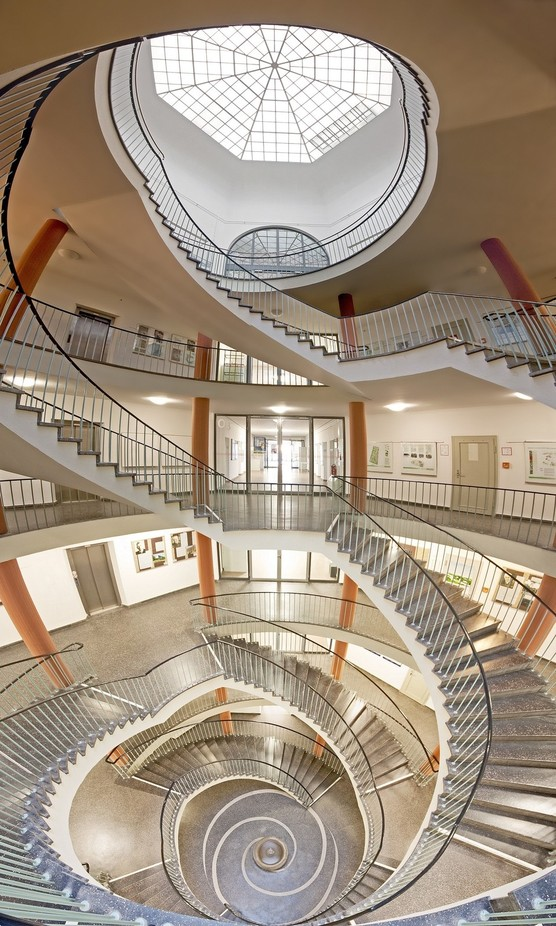 panorama of a spiral staircase by frankseltmann - High Ceilings Photo Contest