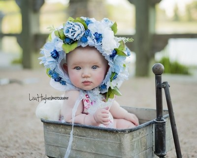 Blue Eyed Baby in a Blue Bonnet